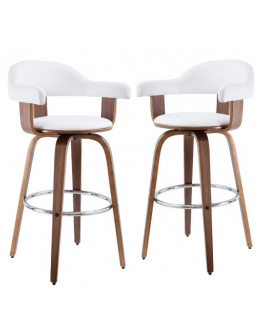 ★ Set of 2 Millan PU Leather & Timber Bar Chairs, White