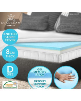 ★ Double Size 8 CM Cool Gel Memory Foam Mattress Topper Visco Elastic