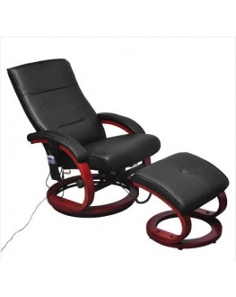 ★ TV Massage Chair with Footstool Black Faux Leather